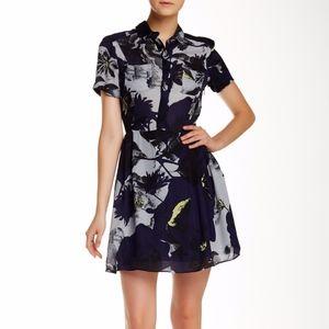 Parker Kelby Combo Dress 100% Silk Navy S